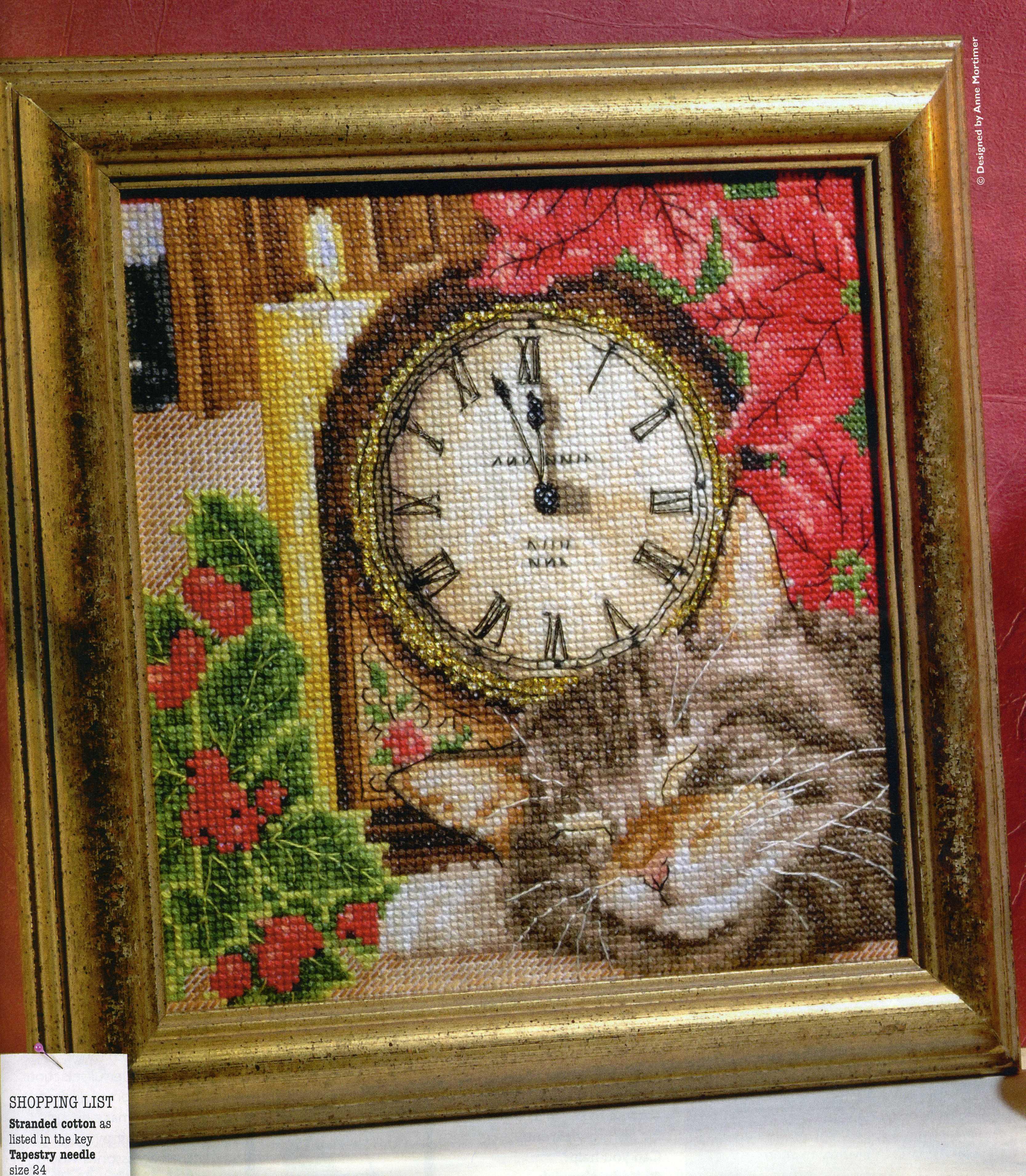 Вышивка крестом часы с котом