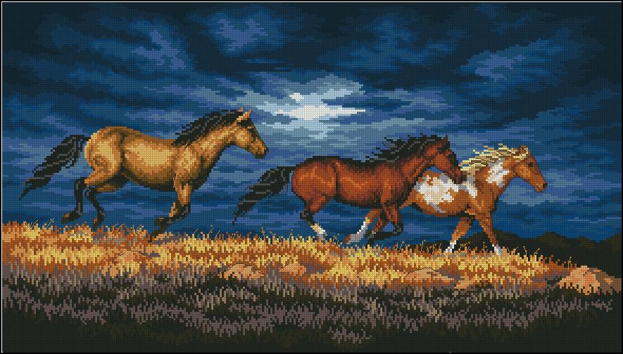 Вышивка бегущие от грозы лошади 27