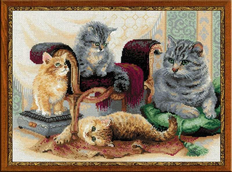 Схема вышивки кошачье семейство